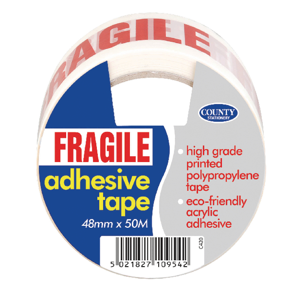 county adhesive tape fragile 6 pack c420