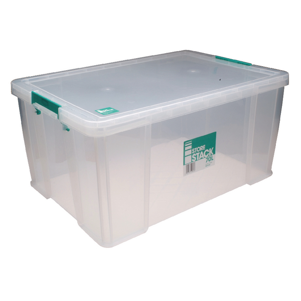 StoreStack 70 Litre Clear W660xD450xH320mm Storage Box RB90126